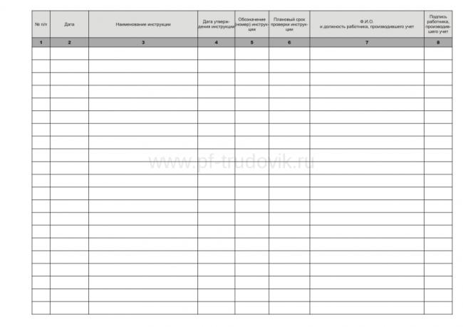 Регистрация инструкции по охране труда
